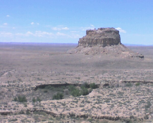 Chaco 2008 - Fajada Butte from campground trail