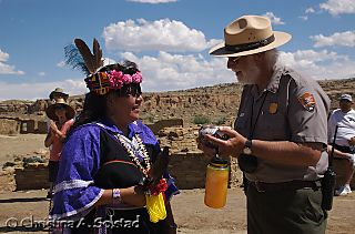 G.B. and Acoma Dancer with pottery gift (Chaco 2008)_DSC_6091