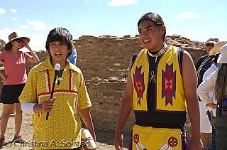 Kyle and drummer (Laguna Pueblo) at Casa Rinconada (Chaco 2008)_DSC_6145